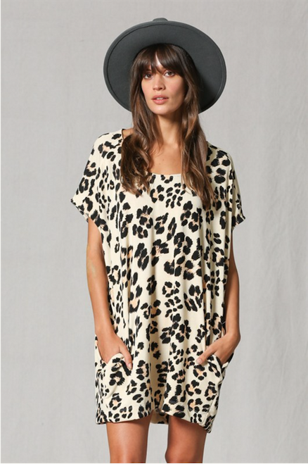 Sandy Leopard Tunic With Pockets - Brown