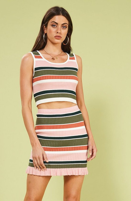 Open Air Stripe Crop Top - Multi Colors