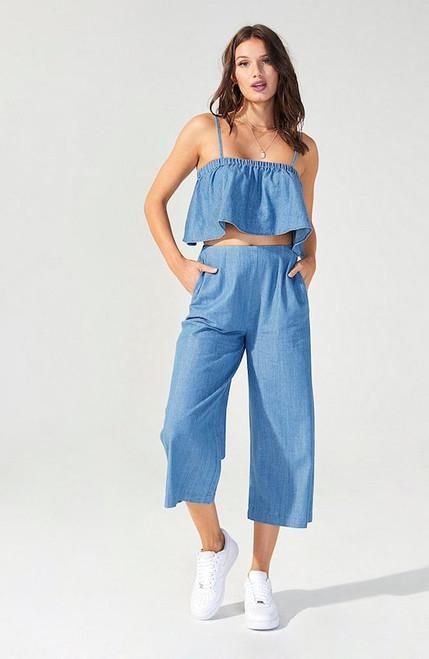 Keep It Casual Culotte - Denim Blue