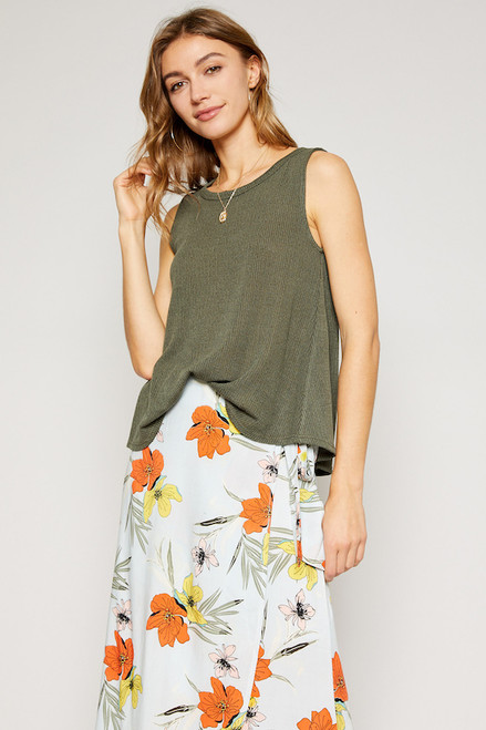 Sofia Knit Tank - Olive
