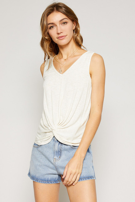 Cacey Knit Twist Top - Natural