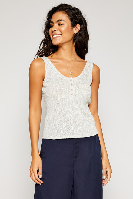 Cow Neck Button Tank - Grey