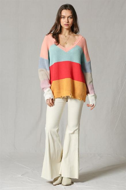 V Neck Multi Colors Pullover Sweater - Color Blocker
