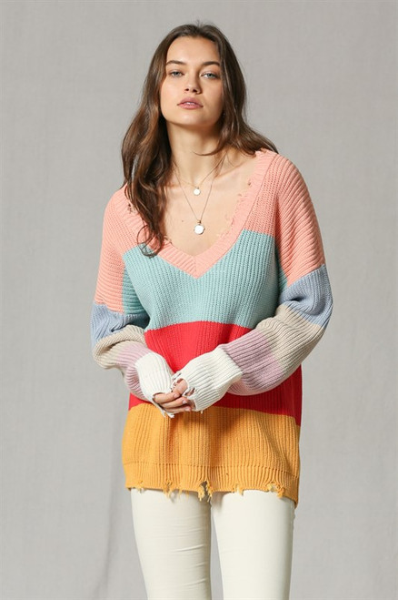 V Neck Multi Colors Pullover Sweater - Color Blocker