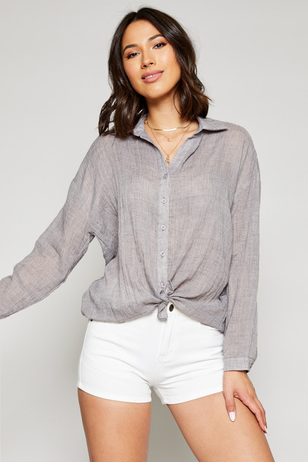 Buttoned Down Top - Grey