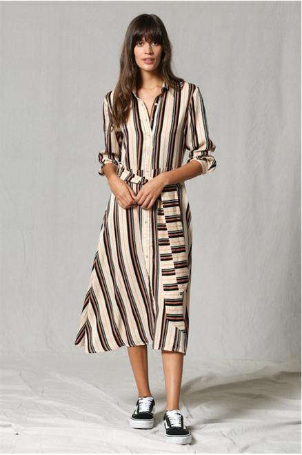Lori Multi Color Striped Dress - Ivory