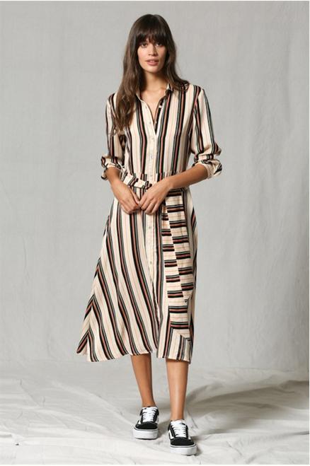 Lori Multi Color Striped Dress - Ivory