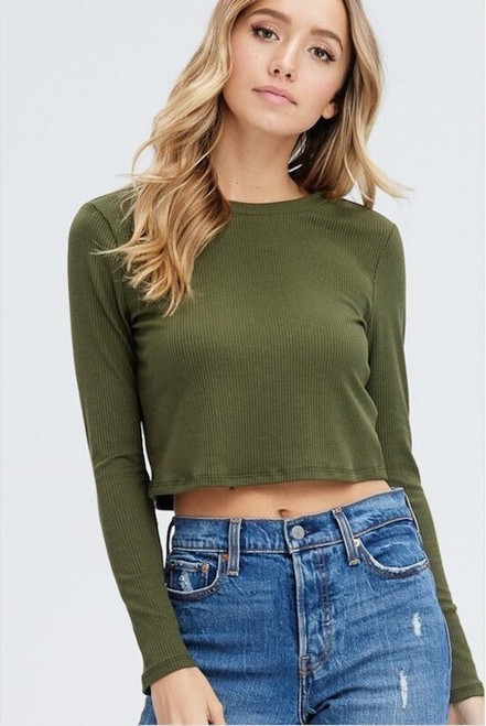 Pam Ribbed Knit Cropped Sweater - Olive Green