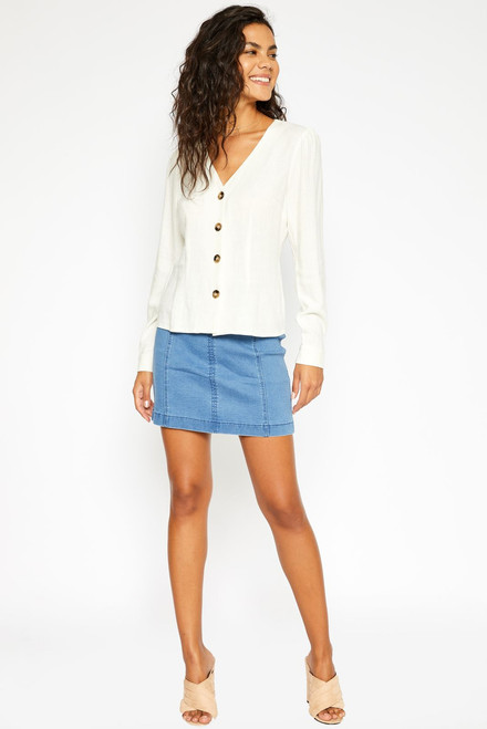 Denim Mini Skirt - Light Blue Wash