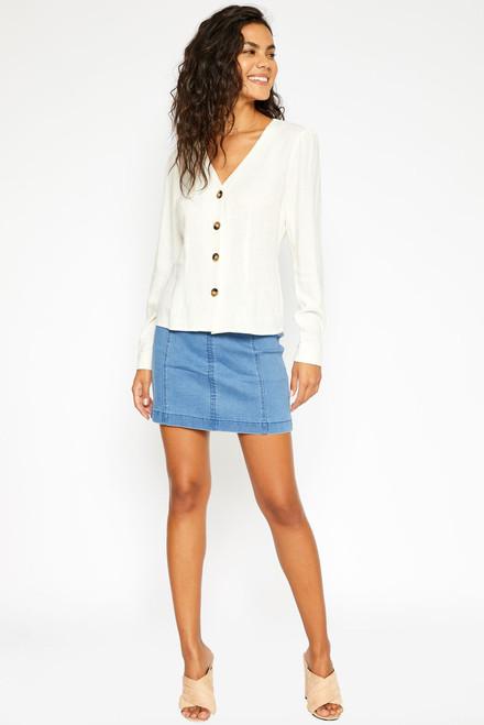 Denim Mini Skirt - Light Blue Wash