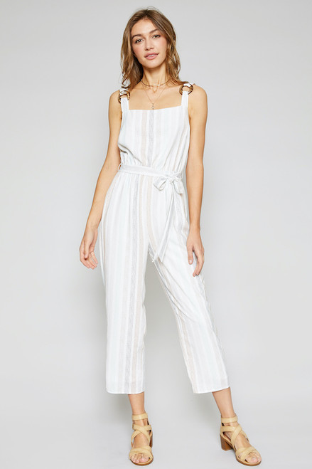 Dharma Dots Jumpsuit - Cream White Multi Color Stripes