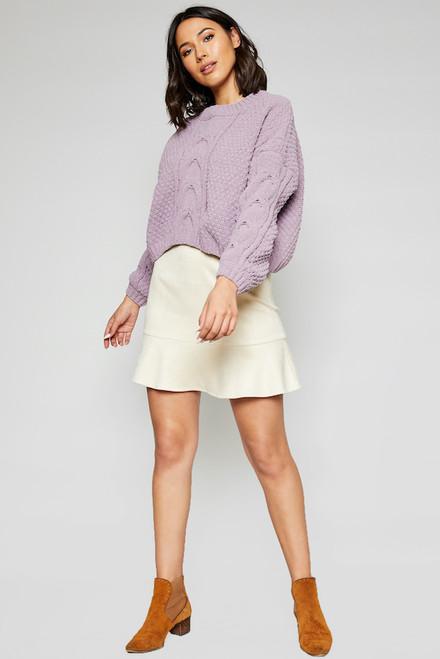 Azalea Crop Sweater - Lavender Violet