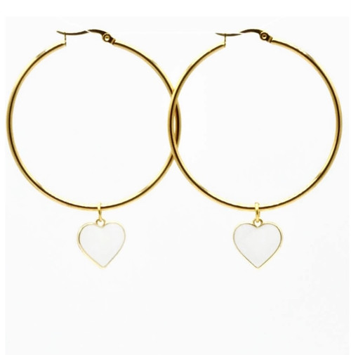 Pair these classic hoops with jeans and a tee or wear on a night out.  Always be confident no matter where life takes you.  Gold Plated Brass Hoops 40mm  Nickel Free Black Epoxy Double Sided Heart Charm