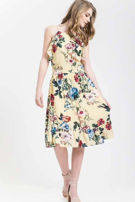 Floral ruffle dress - Yellow