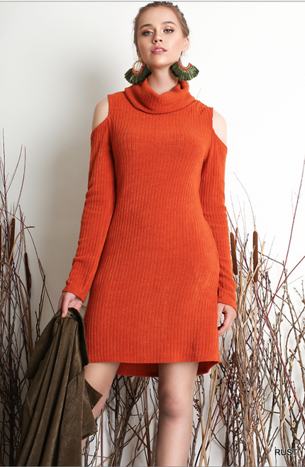 Cowl Neck Dress with cutout shoulders - Rust