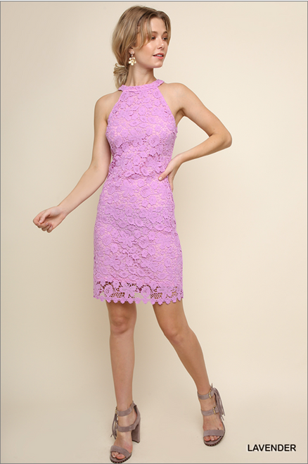 Floral Crochet Halter Dress - Lavender Pink