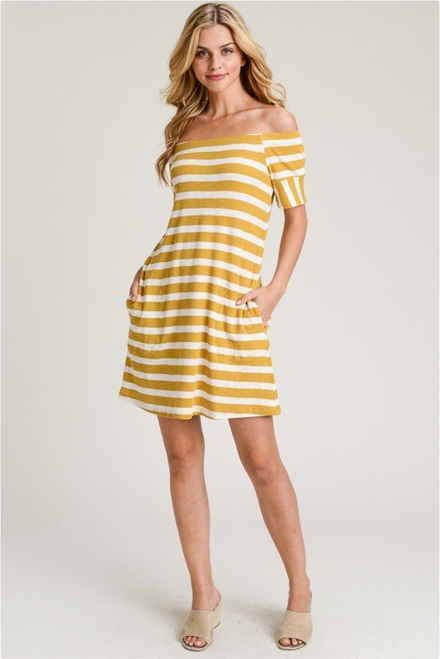 Off The Shoulder Stripe Dress - Mustard