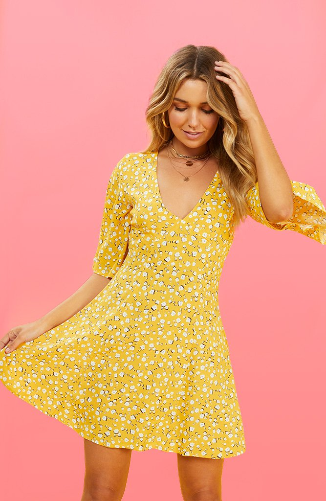 bf458a28858 Summer Daisy Midi Dress - Golden Yellow
