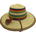 """African Straw Hat with Chin Strap #67-Fits 23""""-24"""" Head"""