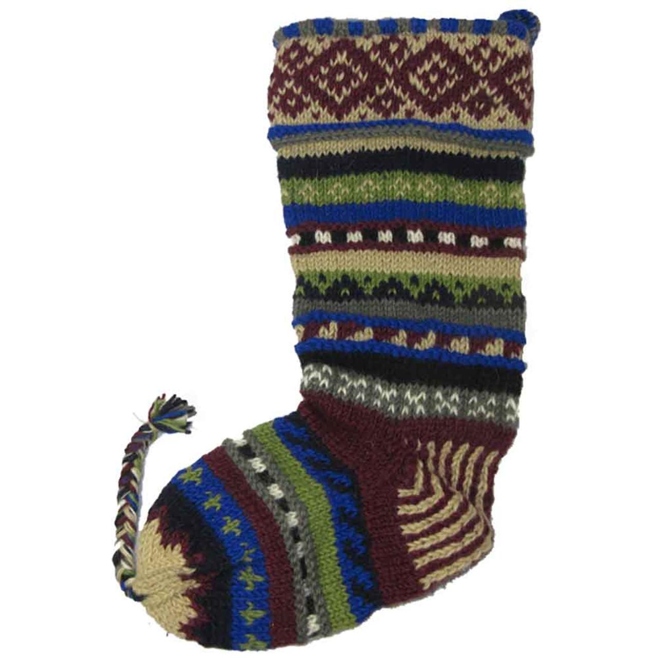 Wool Knit Christmas Stocking Nepal Striped 11 - Tango Zulu Imports