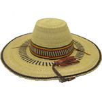 """African Straw Hat with Chin Strap #31-Fits 21 1/2""""-22 1/2"""" Head"""