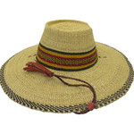 """African Straw Hat with Chin Strap #53-Fits 21 1/2""""-22 1/2"""" Head"""