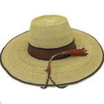 """African Straw Hat with Chin Strap #56-Fits 20 1/2""""-21 1/2"""" Head"""