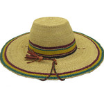 """African Straw Hat with Chin Strap #91-Fits 21 1/2""""-22 1/2"""" Head"""