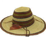 "African Straw Hat with Chin Strap #102-Fits 24""- 25"" Head"