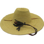 "African Straw Hat with Chin Strap #105 -Fits 20""-21"" Head"
