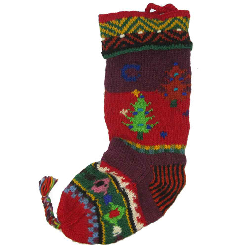 Wool Knit Christmas Stocking Nepal Trees 1