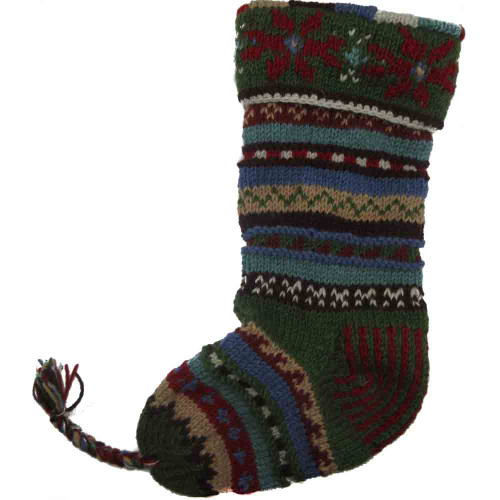 Wool Knit Christmas Stocking Nepal Striped 10