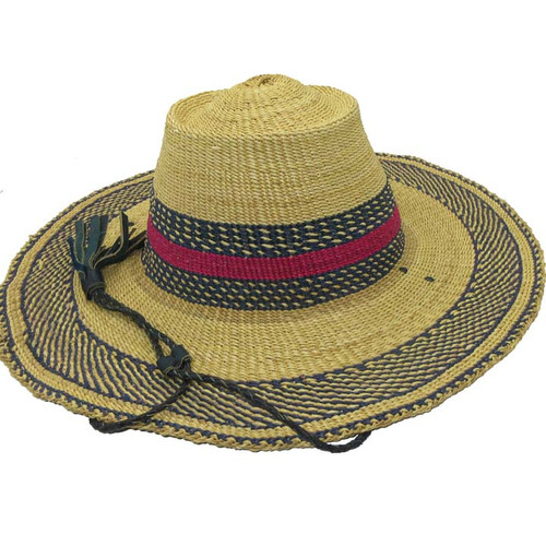 "African Straw Hat with Chin Strap #21-Fits 21""-22"" Head"