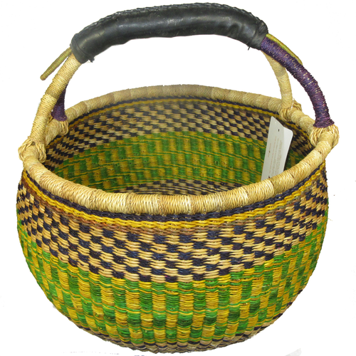 African Bolga Market Basket Large With Rubber Handle #6