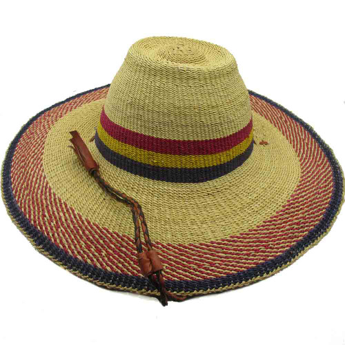 """African Straw Hat with Chin Strap #44-Fits 21 1/2""""-22 1/2"""" Head"""