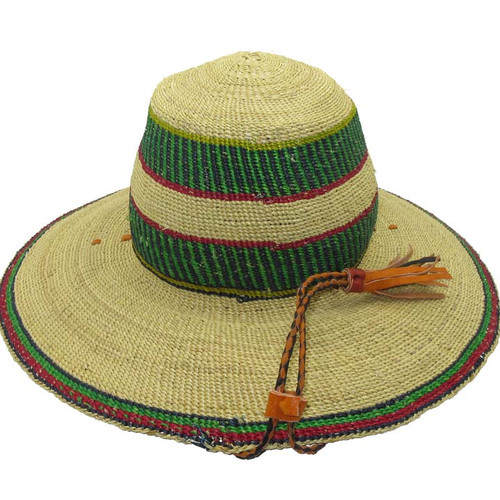 """African Straw Hat with Chin Strap #46-Fits 21 1/2""""-22 1/2"""" Head"""