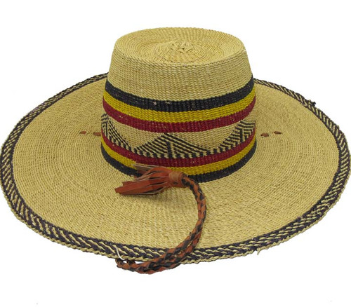 """African Straw Hat with Chin Strap #79-Fits 21""""-22"""" Head"""