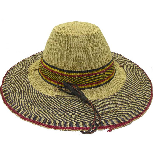 """African Straw Hat with Chin Strap #89-Fits 23 1/2""""-24 1/2"""" Head"""