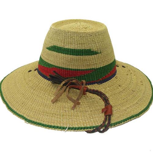 """African Straw Hat with Chin Strap #104-Fits 24""""- 25"""" Head"""