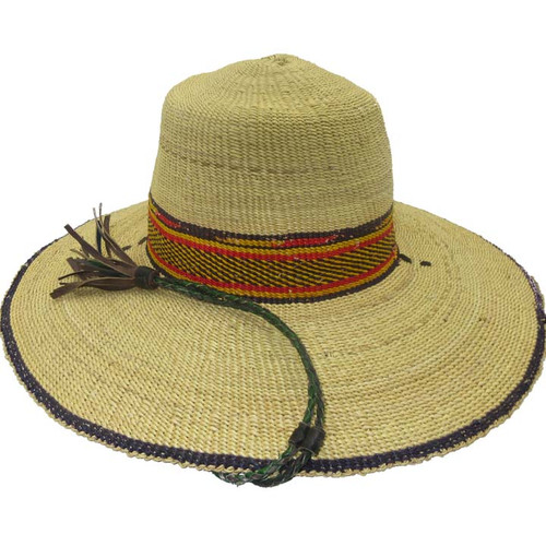 "African Straw Hat with Chin Strap #106-Fits 20 1/2""-21 1/2"" Head"