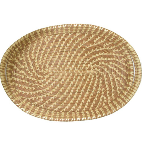 Pine Needle and Raffia Basket Oval Tray