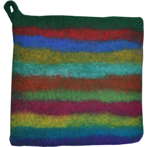 Felted Wool Pot Holder Nepal Striped