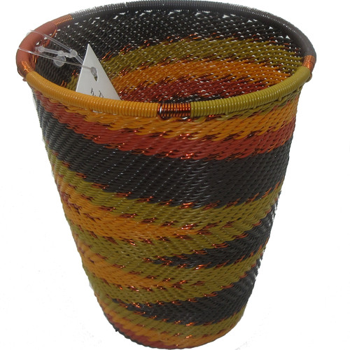African Zulu Telephone Wire Basket #28