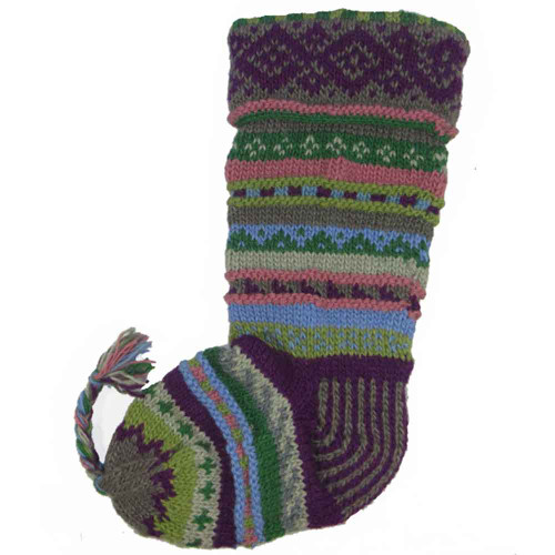 Wool Knit Christmas Stocking Nepal Striped 6