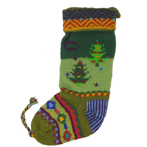 Wool Knit Christmas Stocking Nepal Trees 3