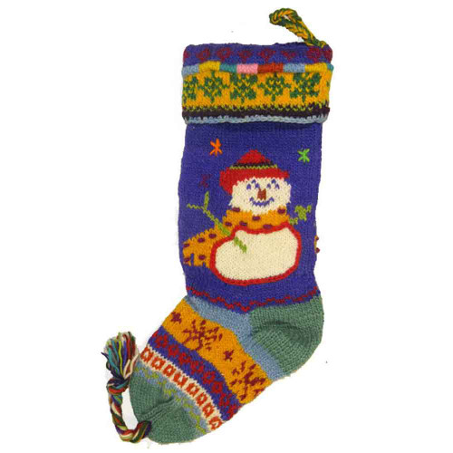 Wool Knit Christmas Stocking Nepal Snowman 2