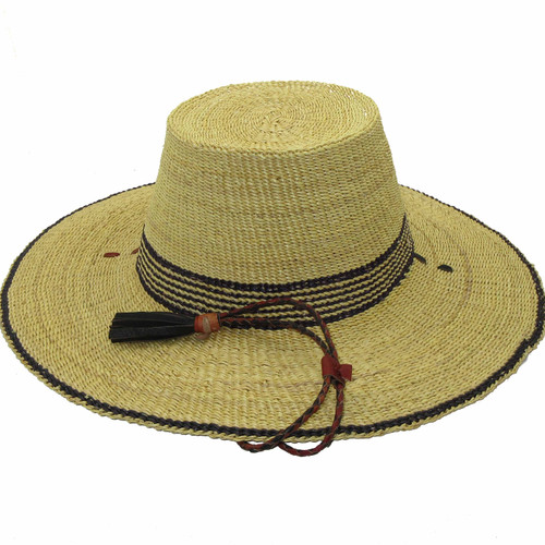 """African Straw Hat with Chin Strap #4-Fits 22""""-23"""" Head"""