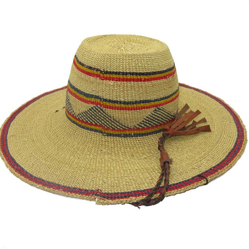 "African Straw Hat with Chin Strap #9-Fits 21""-22"" Head"
