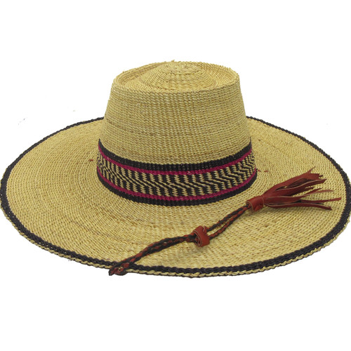 """African Straw Hat with Chin Strap #10-Fits 21""""-22"""" Head"""