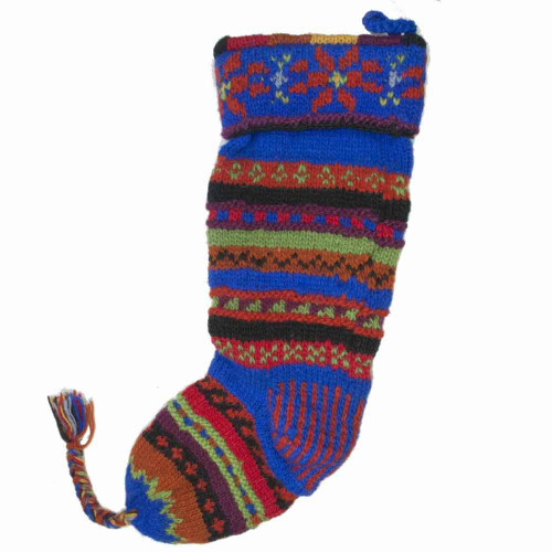 Wool Knit Christmas Stocking Nepal Striped 7